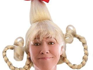 Blonde Cindy Costume Wig With Wire Braids lou Costume Wig with Red bow