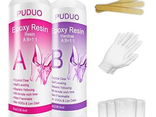 Epoxy Resin Crystal Clear Kit for Art  Jewelry  Crafts Coating  16 OZ Including 8OZ Resin and 8OZ Hardener   Bonus 4 pcs Graduated Cups  3pcs Sticks  1 Pair Rubber Gloves by Puduo