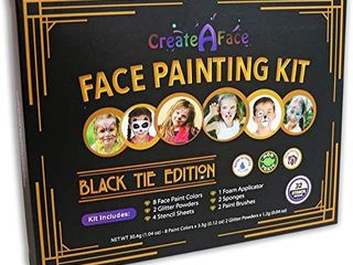 Face Painting Kit for Kids   32 Stencils  8 Water Based Face Paint Colors  2 Brushes  2 Glitters  2 Sponges   2 Applicators   Video Tutorials   eBook   100  Safe  Easy On and Off  Black