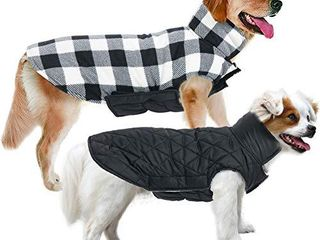 MIGOHI Dog Jackets for Winter Windproof Reversible Dog Coat for Cold Weather British Style Plaid Warm Dog Vest for Small Medium large Dogs  M