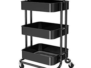 3 Tier Mesh Utility Cart  Rolling Metal Organization Cart with Handle and lockable Wheels  Multifunctional Storage Shelves for Kitchen living Room Office by Pipishell  Black