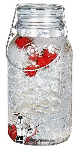 Estilo 1 Gallon Glass Mason Jar Drink Beverage Dispenser with leak Free Spigot and Bail and Trigger Clamp locking lid  Clear