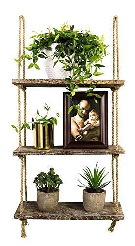 TIMEYARD Decorative Wall Hanging Shelf  3 Tier Distressed Wood Jute Rope Floating Shelves  Rustic Home Wall Decor