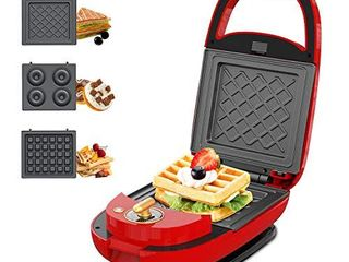 ECX Sandwich Maker  Waffle Maker  Donut Maker  Meatball Grill  3 in 1 Detachable Non stick Coating  lED Indicator lights  Cool Touch Handle  Anti skid Feet