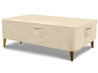 Honest Outfitters Rectangular Patio Table Cover Water Resistant and Heavy Duty Outdoor lawn Patio Furniture Covers Beige 73 5  l x 45 5  W x 23  H