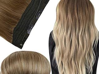 Fshine Halo Hair Extensions 16 Inch Real Hair Color 10 Fading to 14 Hidden Crown Hair Extensions Straight Hair 80 Gram