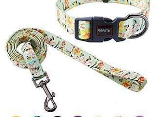 QQPETS Dog Collar and leash Set XS Adjustable Collar Quick Release No Pull 5 ft leash 2 5 inch Wide for Extra Small Dog Cat Rabbit Jogging Training