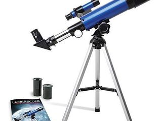 NASA lunar Telescope for Kids Capable of 90x Magnification  Includes Two Eyepieces  Tabletop Tripod  Finder Scope  and Full Color learning Guide  The Perfect STEM Gift for Viewing The Moon