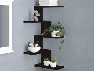 RANK Modern 5 Tier Floating Corner Shelves Wall Mounted Display Organizer Storage Shelf for Bathroom  Bedroom  living Room  Kitchen  Office and More  Espresso
