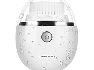 liberex Sonic Vibrating Facial Cleansing Brush   3 Brush Heads with 3 Modes  Waterproof  Smart Timer  Wireless Charging for Face Cleaning  Exfoliating and Massaging  Egg Shape  White