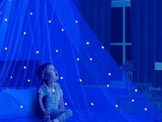 Wremedies for Easier living Stars Glow in The Dark Kids Bed Canopy Baby Crib Play Tent Fairy light Stars large Mosquito Net Bedding Reading Nook