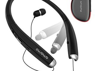 Foldable Bluetooth Headphones  AMORNO Wireless Neckband Sports Headset with Retractable Earbuds  Sweatproof Noise Cancelling Stereo Earphones with Mic  Black