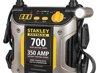 STANlEY FATMAX J7CS Portable Power Station Jump Starter  700 Peak 350 Instant Amps  120 PSI Air Compressor  3 1A USB Ports  Battery Clamps