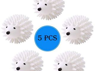 5 Pack Hedgehog Dryer Balls Reusable laundry Dryer Balls Anti Static Eco Friendly Plastic Washing Ball Wrinkles Remover Dryer Sheets Wool Fabric Softener Alternative  White