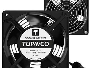 Network Cabinet Fan  Dual 2pc Kit for Server Rack Cooling  Pair of Ultra Quiet Roof Rackmount Muffin Fans 120mm 4in Noise level 40dBa Steel Frame Ventilation with 110V AC Ground Cable  Tupavco TP1511