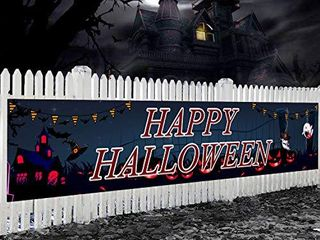 Famoby HAPPY HAllOWEEN Backdrop Banner Yard Sign Pattern Pumpkin Ghouls for HAllOWEEN Day Decorations Background Bunting  18  98