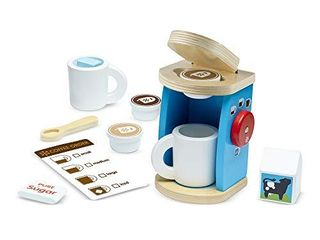 Melissa   Doug 12 Piece Brew and Serve Wooden Coffee Maker Set   Play Kitchen Accessories