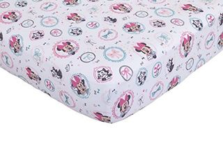 Disney Baby Minnie Mouse All About Bows Fitted Crib Sheet  Pink  Aqua