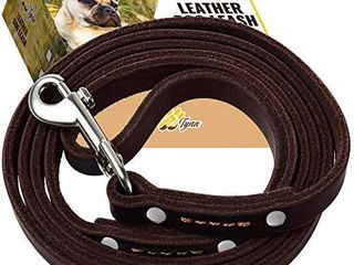 ADITYNA leather Dog leash 6 Foot   Soft and Strong leather leash for Small and Medium Dog  6 ft x 1 2  Brown