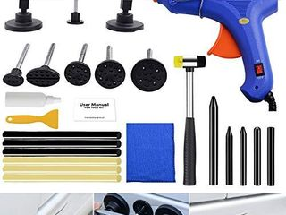 BlueFire Auto Body Paintless Dent Removal Kit 23pcs Car Dent Removal Kit Auto Dent Puller Kit Pops A Dent Car Repair Kit with Bridge Puller   Glue Gun for Car Hail Damage Door Ding Fix