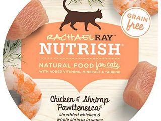 Rachael Ray Nutrish Natural Wet Cat Food  Chicken   Shrimp Pawttenesca Recipe  2 8 Ounce Cup  Pack of 24  Grain Free
