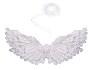 Angel Wings for Kids Angel Wings and Halo Costume Adult Feather Wings Used for Important Festivals as Halloween  Christmas Eve and Christmas  White
