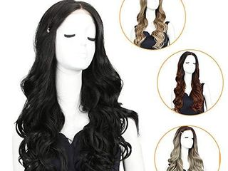 NOBlE EASY 360 lace Frontal Wigs Natural long Wavy Synthetic Wigs for Black Women Blonde Wig 613 Color 29 inch  613