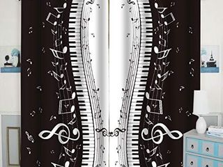 QH Piano Keys   Musical Notes Window Curtain Panels Blackout Curtain Panels Thermal Insulated   light Blocking 42W x 84l inch  Set of 2 Panels