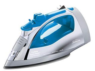 Sunbeam Steammaster Steam Iron   1400 Watt large Anti Drip Nonstick Stainless Steel Iron with Steam Control and Retractable Cord  Chrome Blue