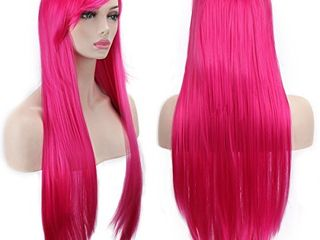 AKStore Wigs 32  80cm long Straight Anime Fashion Women s Cosplay Wig Party Wig With Free Wig Cap Rose