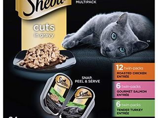 SHEBA PERFECT PORTIONS Soft Wet Cat Food Cuts in Gravy Roasted Chicken Entree  Gourmet Salmon Entree  Tender Turkey EntrAce Variety Pack 2 6 Oz   24 Twin Packs