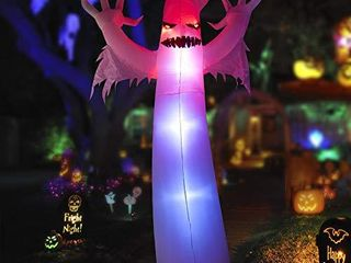 HOOJO 12 FT Halloween Inflatable Ghost with Tethers Outdoor Decoration with Build in lEDs  Tall Blow up Indoor  Yard  Garden lawn Decoration