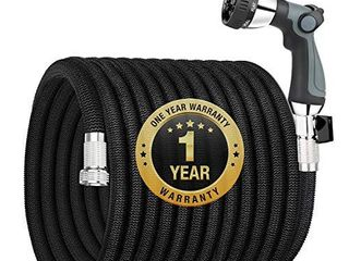 Garden Hose Expandable 100FT  Flexible Water Hose with Powerful Nozzle Spray  Car Wash Hose with Good Pressure  Expanding hose with 3 4 Brass Connector  No Kink  No leak  Easy for Mobility and Storage