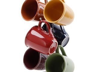 Gibson Contempo Hues 7 Piece 15 Ounce Mug Tree Set with 6 Assorted Colors 1 stand