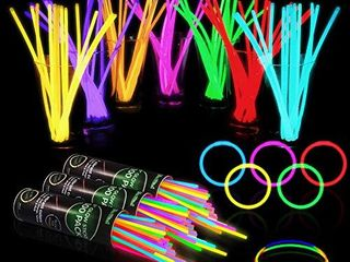 300 Glow Sticks Bulk Party Supplies   Glow in The Dark Fun Party Favors Pack with Connectors  Neon 8 inch Glowsticks Bracelets and Necklaces