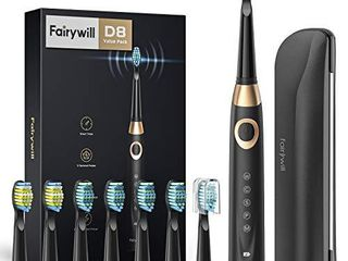 Fairywill Electric Toothbrush for Adults and Kids Accepted by American Dental Association  8 Dupont Brush Heads   Travel Case 5 Modes Rechargeable Whitening Power Sonic Toothbrush Smart Timer Black