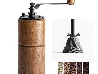 Akirakoki Manual Coffee Bean Grinder Wooden Mill with Cast Iron Burr  large Capacity Hand Crank  Portable Travel Camping Adjustable  Brown wood