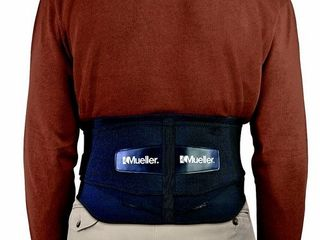 Mueller 255 lumbar Support Back Brace with Removable Pad  Black  Regular