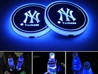 DIY1234 lED Car Cup Holder lights for New York Yankees  Car Coasters with 7 Colors Changing USB Charging Mat  luminescent Cup Pad Interior Atmosphere lamp Decoration light 2PCS