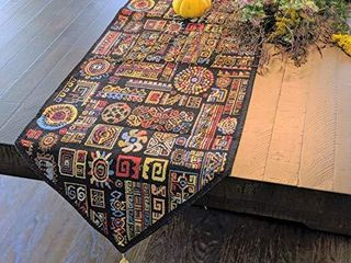 DaDa Bedding Tapestry Table Runner   Ethnic Ornament Geometric Black   Multi Colorful Cotton linen Woven Dining Mats   13  x 54