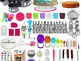 360 Pcs Cake Decorating Supplies Kit with Baking supplies  Springform Pan Set  Cake Turntable stand 55 Numbered Piping Tips   Bags 7 Russian tips Icing Spatulas Fondant tools Measuring cups   Spoons
