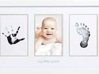 Pearhead Babyprints Newborn Baby Handprint and Footprint Photo Frame Kit with an Included Clean Touch Ink Pad to Create Baby s Prints  Baby Shower or Christmas Gift