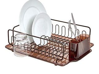 iDesign Forma lupe Stainless Steel Metal Sink Dish Drainer Plastic Tray Kitchen Drying Rack for Glasses  Silverware  Bowls  Plates  Utensils  Set of 1  Bronze