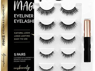 easbeauty 2020 Upgraded Magnetic Eyeliner and Eyelashes Kit  Magnetic Eyelashes with Eyeliner  False lashes 5 Pairs with Tweezers  Easy to Wear