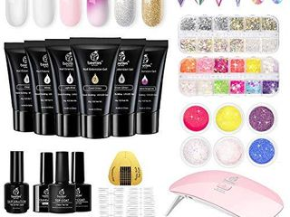 Beetles Poly Extension Gel Nail Kit  6 Colors 30g gel with Mini Nail lamp Slip Solution Rhinestone Glitter All In One Kit for Nail Manicure Beginner Starter Kit DIY at Home
