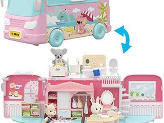 Mitcien Dollhouse Playset  DIY Pretend Portable Caravan Camper Bus Toy Kit with little Critters Bunny Dolls Mini Cottage House Set Camping Family Toys for Toddler 3 4 5 6 Year Old Girl