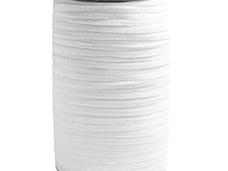 Elastic Band String  High Comfort and Skin Friendly Elastic Rope  length 125 Yards  114 Meters  Width 1 4 Inch  0 6 mm  Color White