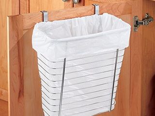 iDesign Axis Steel Over the Cabinet Storage Basket Organizer  Waste Basket  for Aluminum Foil  Sandwich Bags  Cleaning Supplies  Garbage Bags  Bath Supplies  7 1  x 12 2  x 14 2  Chrome
