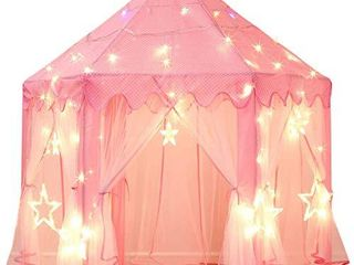 Sumbababy Princess Castle Tent for Girls Fairy Play Tents for Kids Hexagon Playhouse with large Star lights Toys for Children or Toddlers Indoor or Outdoor Games  Pink