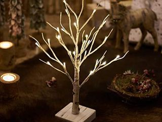 Hairui lighted little Birch Tree with Timer 24lED 18IN Battery Operated Pre lit Twig Tree Gift for Christmas Easter Decoration Tabletop Centerpiece